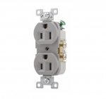 15 Amp Duplex Receptacle, PVC, Commercial, Grey
