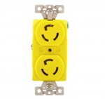 15 Amp Locking Receptacle, Duplex, Corrosion Resistant, Yellow