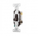 15 Amp Toggle Switch, 3-Way, Commercial, Brown