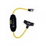 2-ft 15 Amp Portable GFCI Tri-Tap Cord, Automatic Reset, Watertight