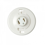 660W Ceiling Lamp Holder w/ Keyless Switch, GU24, Thermoset, White