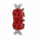 15 Amp Duplex Receptacle w/ Terminal Guards, Standard Size, Red