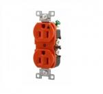 15 Amp Duplex Receptacle w/ Terminal Guards, Standard Size, Orange