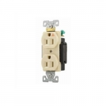15 Amp Duplex Receptacle, Isolated Ground, Industrial Grade, Ivory