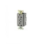 20 Amp Duplex Receptacle w/LED Indicators & Switched Alarm, Commercial Grade, Grey