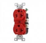 20 Amp Duplex Receptacle, Isolated Ground, NEMA 5-20R, Red