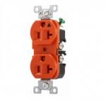 20 Amp Duplex Receptacle, Isolated Ground, NEMA 5-20R, Orange