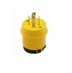 30 Amp Locking Plug, Watertight, NEMA L14-30, 125/250V, Black