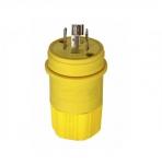20 Amp Locking Plug, Industrial, NEMA L21-20, 120/208V, Yellow