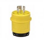 30 Amp Locking Plug, Watertight, NEMA L21-30, 120/208V, Yellow/Black
