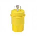 30 Amp Locking Plug, Watertight, NEMA L22-30, 277/480V, Yellow