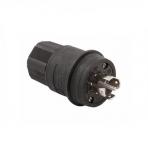 30 Amp Locking Plug, Watertight, NEMA L22-30, 277/480V, Black