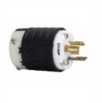 20 Amp Locking Plug, Watertight, NEMA L24-20, 347V, Black/White