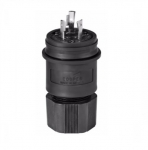 20 Amp Locking Plug, Watertight, NEMA L5-20, Black