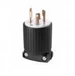 30 Amp Locking Plug, Industrial, NEMA L5-30, Black/White