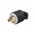 20 Amp Locking Plug, Industrial, NEMA L6-20, Black/White