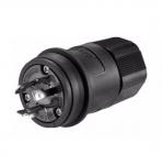 20 Amp Locking Plug, Watertight, NEMA L8-20, 480V, Black