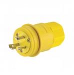 30 Amp Locking Plug, Industrial, NEMA L8-30, 480V, Yellow/Black