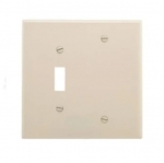 2-Gang Combination Wall Plate, Toggle & Blank, Mid-Size, Light Almond