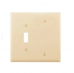 2-Gang Combination Wall Plate, Toggle & Blank, Mid-Size, Ivory
