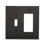 2-Gang Combination Wall Plate, Toggle & Decora, Mid-Size, Black