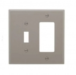 2-Gang Combination Wall Plate, Toggle & Decora, Mid-Size, Grey