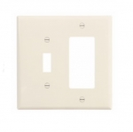 2-Gang Combination Wall Plate, Toggle & Decora, Mid-Size, Light Almond
