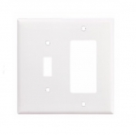 2-Gang Combination Wall Plate, Toggle & Decora, Mid-Size, White