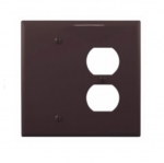 2-Gang Combination Wall Plate, Duplex & Blank, Mid-Size, Brown