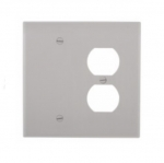 2-Gang Combination Wall Plate, Duplex & Blank, Mid-Size, Grey
