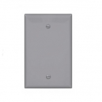 1-Gang Blank Wall Plate, Mid-Size, Gray