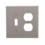2-Gang Combination Wall Plate, Toggle & Duplex, Mid-Size, Grey