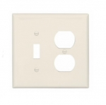 2-Gang Combination Wall Plate, Toggle & Duplex, Mid-Size, Light Almond