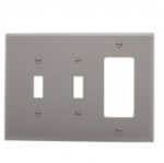 3-Gang Combination Wall Plate, 2 Toggle & Decora, Mid-Size, Grey
