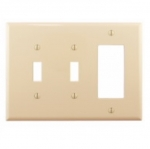 3-Gang Combination Wall Plate, 2 Toggle & Decora, Mid-Size, Ivory