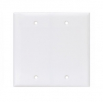 2-Gang Blank Wall Plate, Mid-Size, Polycarbonate, White