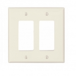 2-Gang Decora Wall Plate, Mid-Size, Polycarbonate, Light Almond