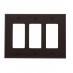 3-Gang Decora Wall Plate, Mid-Size, Polycarbonate, Brown