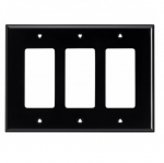 3-Gang Decora Wall Plate, Mid-Size, Polycarbonate, Black