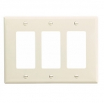3-Gang Decora Wall Plate, Mid-Size, Polycarbonate, Light Almond