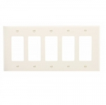 5-Gang Decora Wall Plate, Mid-Size, Polycarbonate, White