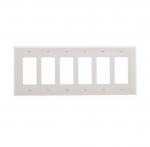 6-Gang Decora Wall Plate, Mid-Size, Polycarbonate, White