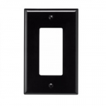 1-Gang Decora Wall Plate, Mid-Size, Polycarbonate, Black