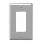 1-Gang Decora Wall Plate, Mid-Size, Polycarbonate, Gray