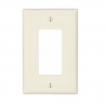1-Gang Decora Wall Plate, Mid-Size, Polycarbonate, Light Almond
