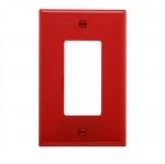 1-Gang Decora Wall Plate, Mid-Size, Polycarbonate, Red