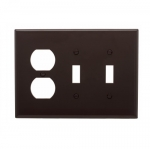 3-Gang Combination Wall Plate, Mid-Size, 2 Toggles & Duplex, Brown