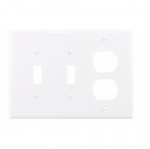 3-Gang Combination Wall Plate, Mid-Size, 2 Toggles & Duplex, White
