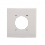 """2-Gang Power Outlet Wall Plate, Mid-Size, 2.15"""" Hole, White"""