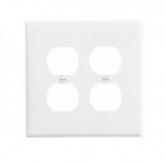 2-Gang Duplex Wall Plate, Mid-Size, Polycarbonate, White